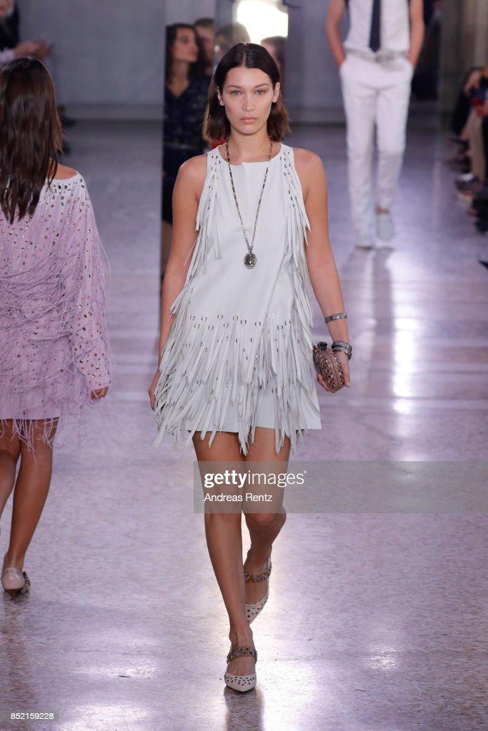 Bella Hadid walks the runway at the Bottega Veneta show during Milan Fashion Week Spring/Summer 2018 on September 23, 2017 in Milan, Italy.