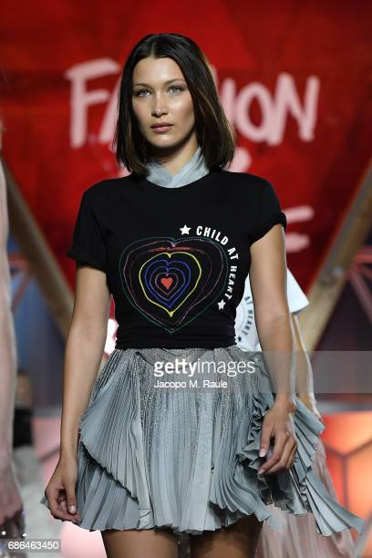 Bella Hadid walks the runway at the Fashion for Relief during the 70th annual Cannes Film Festival at Aeroport Cannes Mandelieu on May 21 2017 in...