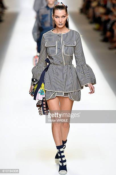 Bella Hadid walks the runway at the Fendi Ready to Wear designed by Silvia Venturini Fendi Karl Lagerfeld show Milan Fashion Week Spring/Summer 2017...