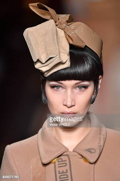 Bella Hadid walks the runway at the Moschino Ready to Wear fashion show during Milan Fashion Week Fall/Winter 2017/18 on February 23 2017 in Milan...