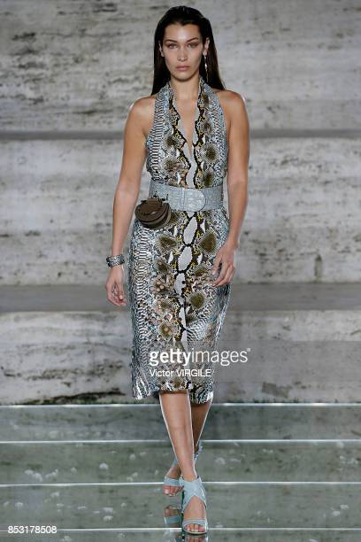 Bella Hadid walks the runway at the Salvatore Ferragamo Ready to Wear Spring/Summer 2018 fashion show during Milan Fashion Week Spring/Summer 2018 on...