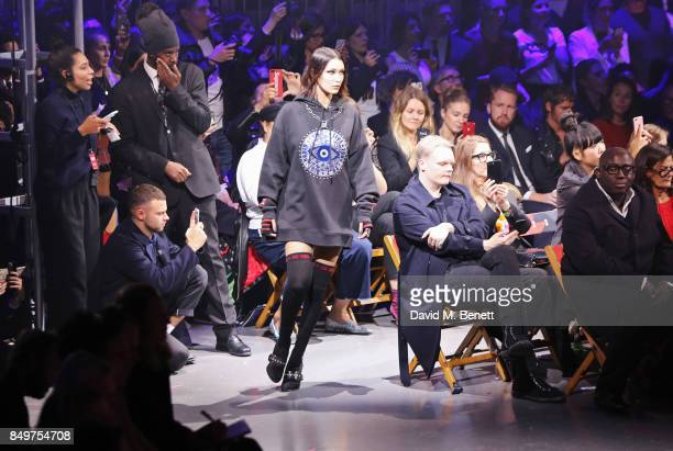 Bella Hadid walks the runway at the Tommy Hilfiger TOMMYNOW Fall 2017 Show during London Fashion Week September 2017 at The Roundhouse on September...