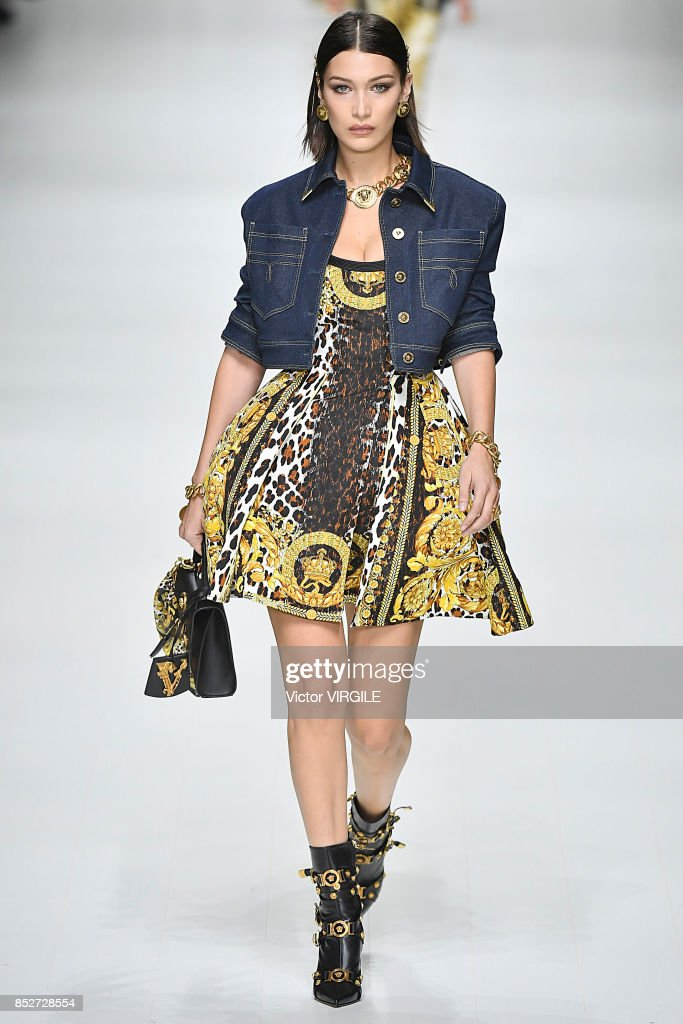 Bella Hadid walks the runway at the Versace Ready to Wear Spring/Summer 2018 fashion show during Milan Fashion Week Spring/Summer 2018 on September 22, 2017 in Milan, Italy.