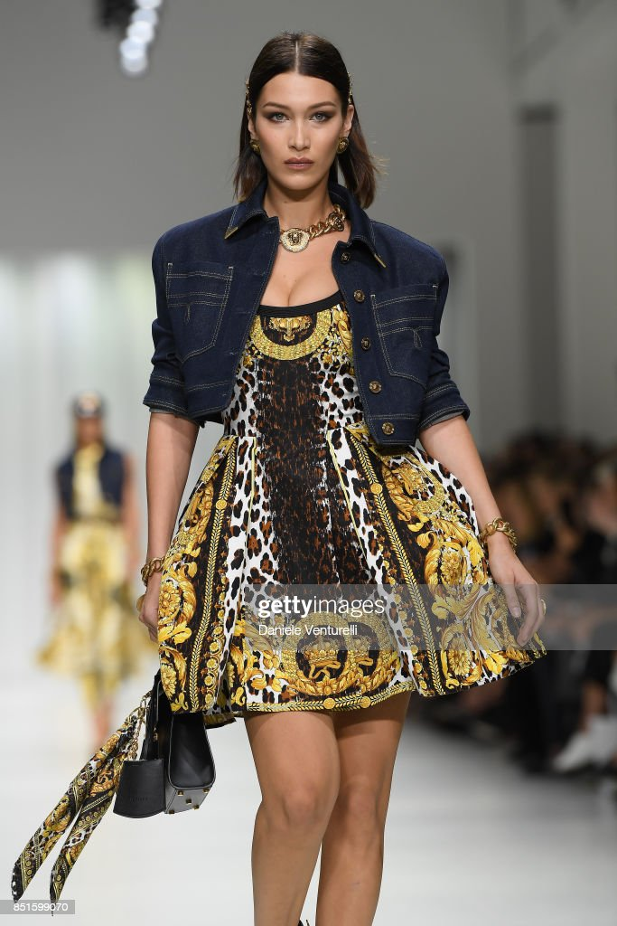 Bella Hadid walks the runway at the Versace show during Milan Fashion Week Spring/Summer 2018 on September 22, 2017 in Milan, Italy.