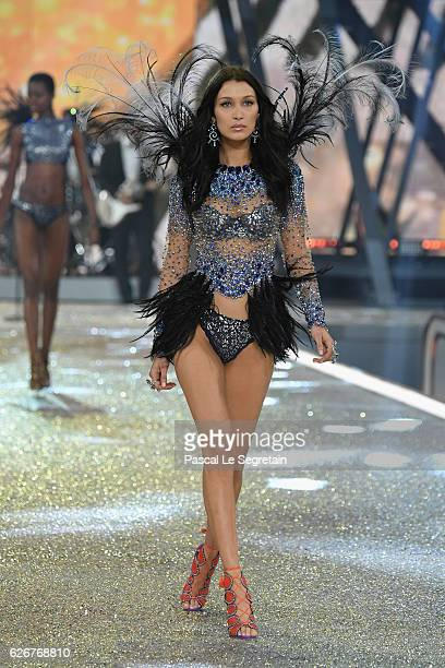 Bella Hadid walks the runway at the Victoria's Secret Fashion Show on November 30 2016 in Paris France