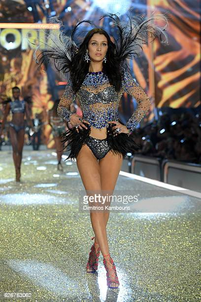 Bella Hadid walks the runway during the 2016 Victoria's Secret Fashion Show on November 30 2016 in Paris France