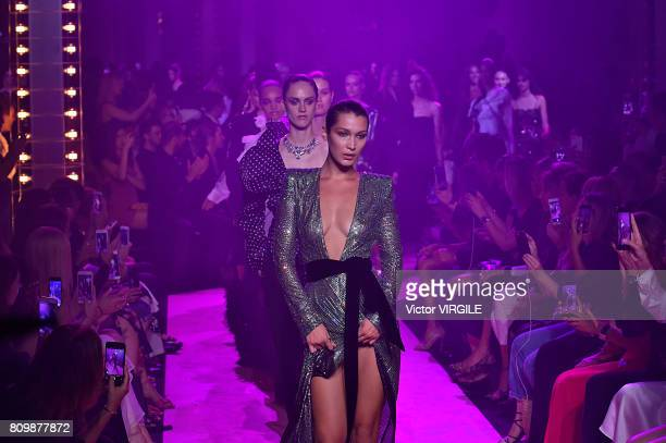 Bella Hadid walks the runway during the Alexander Vauthier Haute Couture Fall/Winter 20172018 show as part of Haute Couture Paris Fashion Week on...