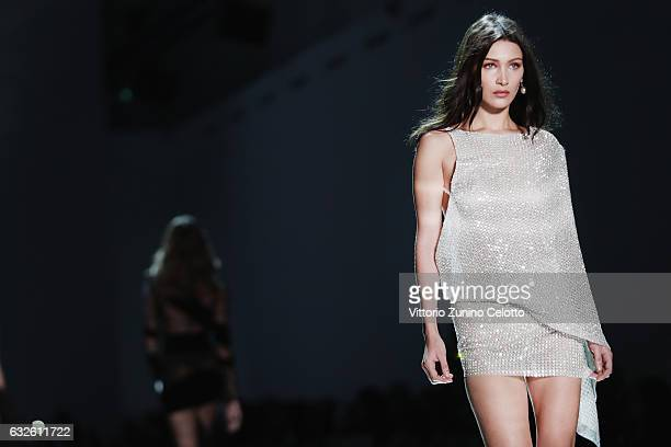 Bella Hadid walks the runway during the Alexandre Vauthier Spring Summer 2017 show as part of Paris Fashion Week on January 24 2017 in Paris France
