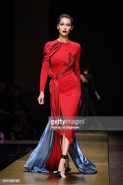 Bella Hadid walks the runway during the Atelier Versace Haute Couture Fall/Winter 20162017 show as part of Paris Fashion Week on July 3 2016 in Paris...
