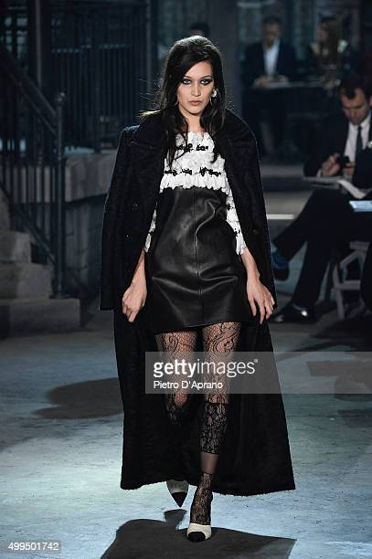 Bella Hadid walks the runway during the Chanel Metiers d'Art 2015/16 Fashion Show at Cinecitta on December 1 2015 in Rome Italy