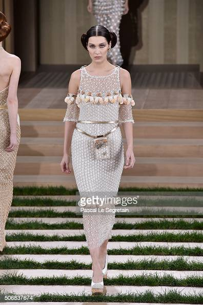 Bella Hadid walks the runway during the Chanel Spring Summer 2016 show as part of Paris Fashion Week on January 26 2016 in Paris France