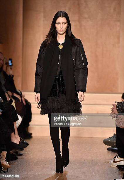 Bella Hadid walks the runway during the Givenchy show as part of the Paris Fashion Week Womenswear Fall/Winter 2016/2017 on March 6 2016 in Paris...