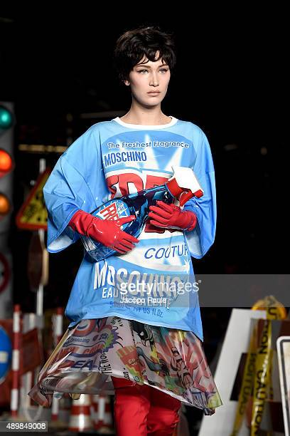 Bella Hadid walks the runway during the Moschino fashion show as part of Milan Fashion Week Spring/Summer 2016 on September 24 2015 in Milan Italy