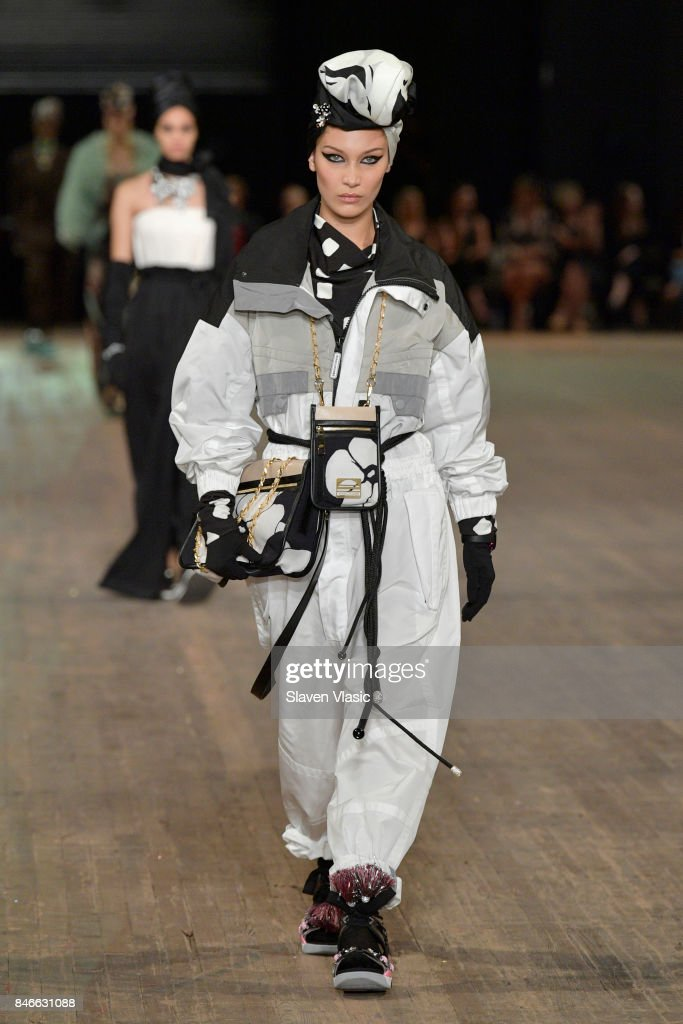 Bella Hadid walks the runway for Marc Jacobs SS18 fashion show during New York Fashion Week at Park Avenue Armory on September 13, 2017 in New York City.