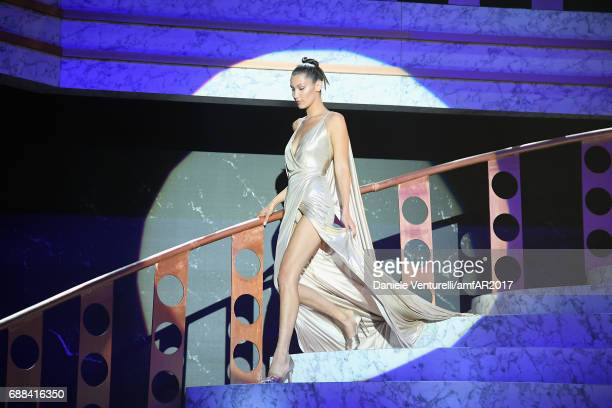 Bella Hadid wearing Alexandre Vauthier walks the runway at the amfAR Gala Cannes 2017 at Hotel du CapEdenRoc on May 25 2017 in Cap d'Antibes France
