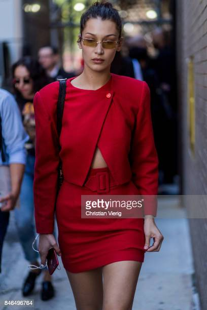 Bella Hadid wearing red skirt and red jacket seen in the streets of Manhattan outside Michael Kors during New York Fashion Week on September 13 2017...