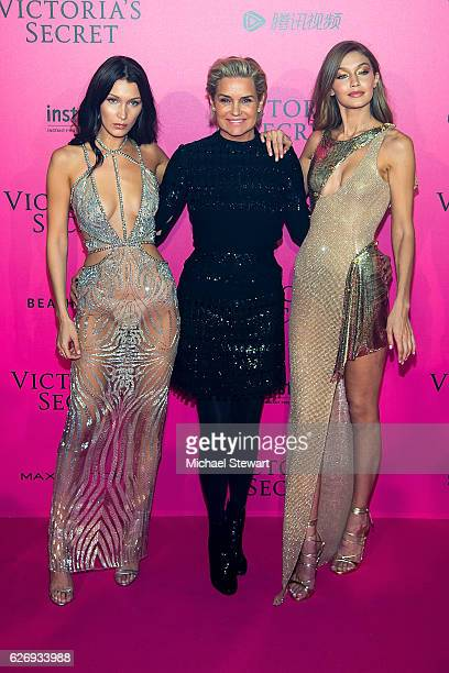 Bella Hadid Yolanda Foster and Gigi Hadid attend the 2016 Victoria's Secret Fashion Show after party at Le Grand Palais on November 30 2016 in Paris...