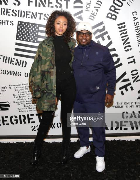 Bella Harris and Roc96 Founder Emory Jones attend Madeworn x Roc96 PopUp Event at on May 31 2017 in Los Angeles California