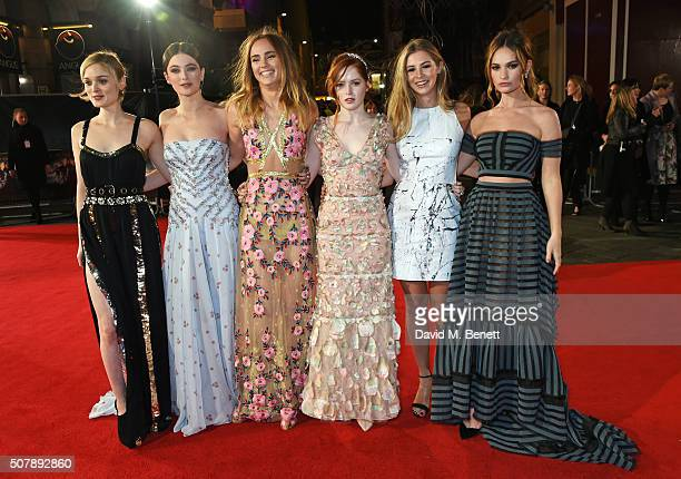 Bella Heathcote Millie Brady Suki Waterhouse Ellie Bamber Hermione Corfield and Lily James attend the European Premiere of 'Pride And Prejudice And...