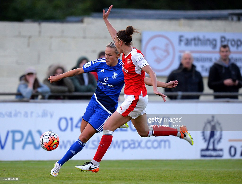 Bella Linden of Birmingham City Ladies is tackled by <a gi-track='captionPersonalityLinkClicked' href=/galleries/search?phrase=Casey+Stoney&family=editorial&specificpeople=2357476 ng-click='$event.stopPropagation()'>Casey Stoney</a> of Arsenal Ladies FC during the WSL match between Birmingham City Ladies and Arsenal Ladies FC at Automated Technology Stadium on June 29, 2016 in Solihull, England.