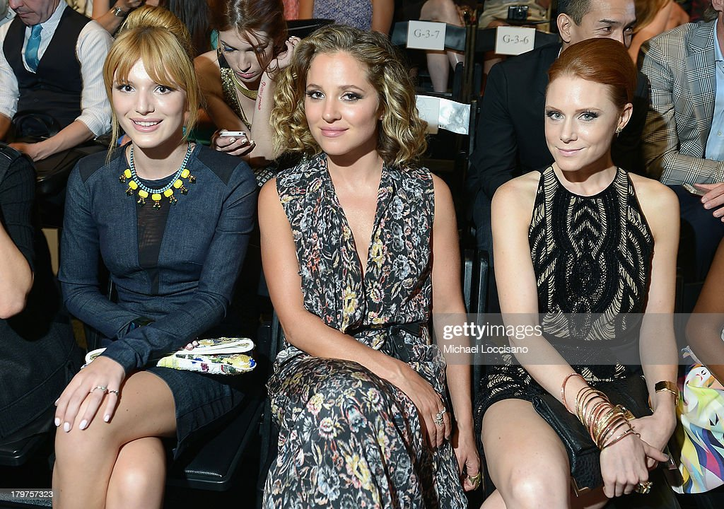 <a gi-track='captionPersonalityLinkClicked' href=/galleries/search?phrase=Bella+Thorne&family=editorial&specificpeople=5083663 ng-click='$event.stopPropagation()'>Bella Thorne</a>, Actors <a gi-track='captionPersonalityLinkClicked' href=/galleries/search?phrase=Margarita+Levieva&family=editorial&specificpeople=630349 ng-click='$event.stopPropagation()'>Margarita Levieva</a> and Christiane Seidel attend the Nicole Miller Spring 2014 fashion show during Mercedes-Benz Fashion Week at The Studio at Lincoln Center on September 6, 2013 in New York City.