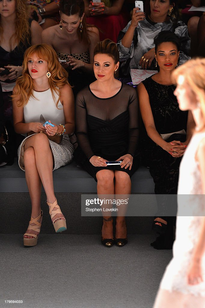 Bella Thorne, Alyssa Milano and Rochelle Aytes attend the Tadashi Shoji Spring 2014 fashion show during Mercedes-Benz Fashion Week at The Stage at Lincoln Center on September 5, 2013 in New York City.