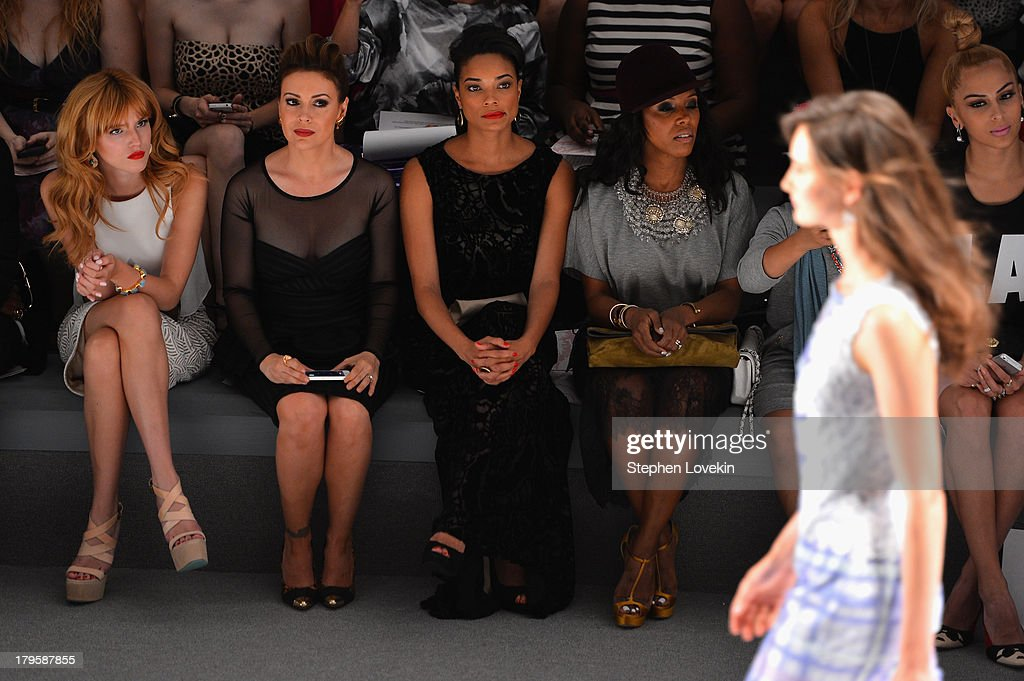 Bella Thorne Alyssa Milano Rochelle Aytes and June Ambrose attend the Tadashi Shoji Spring 2014 fashion show during MercedesBenz Fashion Week at The...