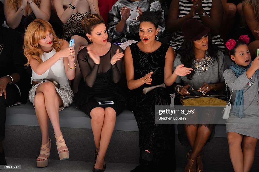 Bella Thorne, Alyssa Milano, Rochelle Aytes, June Ambrose and Summer Chamblin attend the Tadashi Shoji Spring 2014 fashion show during Mercedes-Benz Fashion Week at The Stage at Lincoln Center on September 5, 2013 in New York City.