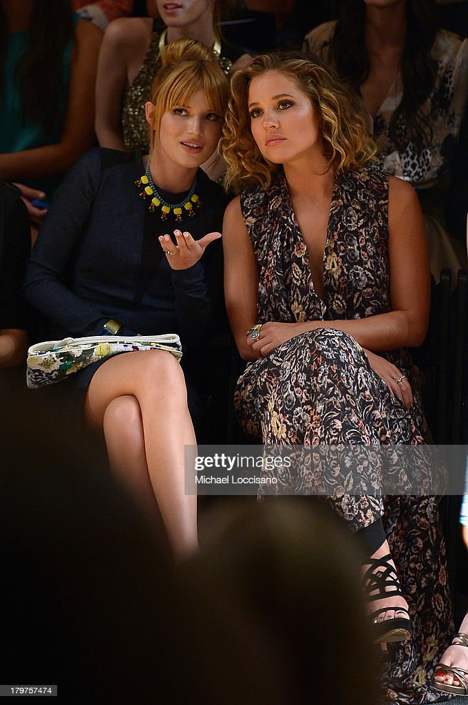 <a gi-track='captionPersonalityLinkClicked' href=/galleries/search?phrase=Bella+Thorne&family=editorial&specificpeople=5083663 ng-click='$event.stopPropagation()'>Bella Thorne</a> and actress <a gi-track='captionPersonalityLinkClicked' href=/galleries/search?phrase=Margarita+Levieva&family=editorial&specificpeople=630349 ng-click='$event.stopPropagation()'>Margarita Levieva</a> attend the Nicole Miller Spring 2014 fashion show during Mercedes-Benz Fashion Week at The Studio at Lincoln Center on September 6, 2013 in New York City.