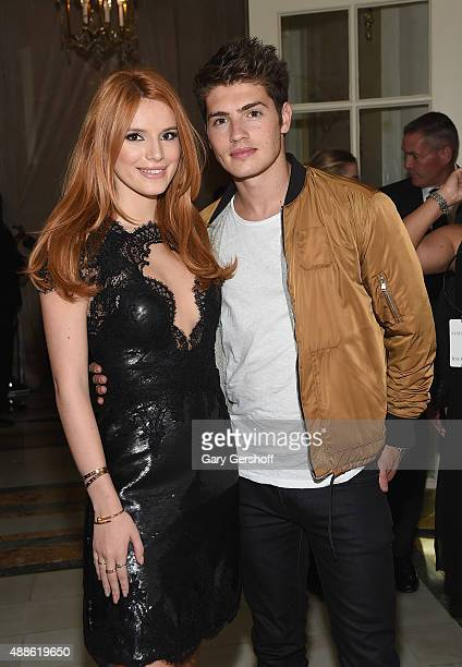 Bella Thorne and Gregg Sulkin attend the Marchesa fashion show during Spring 2016 New York Fashion Week at St Regis Hotel on September 16 2015 in New...