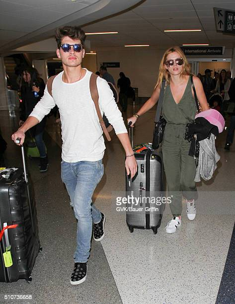 Bella Thorne and Gregg Sulkin is seen at LAX on February 16 2016 in Los Angeles California