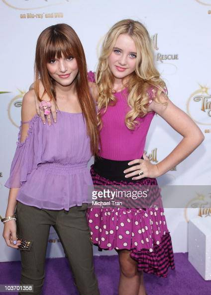 Bella Thorne and Kathryn Newton arrive to the special screening of 'Tinker Bell And The Great Fairy Rescue' held at La Cienega Park on August 28 2010...