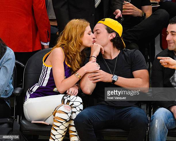 Bella Thorne and Ryan Nassif attend a basketball game between the Portland Trail Blazers and the Los Angeles Lakers at Staples Center on April 3 2015...