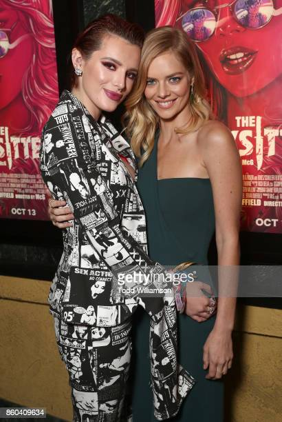 Bella Thorne and Samara Weaving attend the Los Angeles Premiere of 'The Babysitter' on October 11 2017 in Los Angeles California