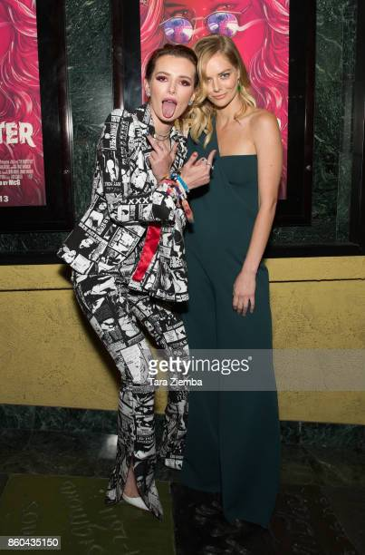 Bella Thorne and Samara Weaving attend the premiere of Netflix's 'The Babysitter' at the Vista Theatre on October 11 2017 in Los Angeles California