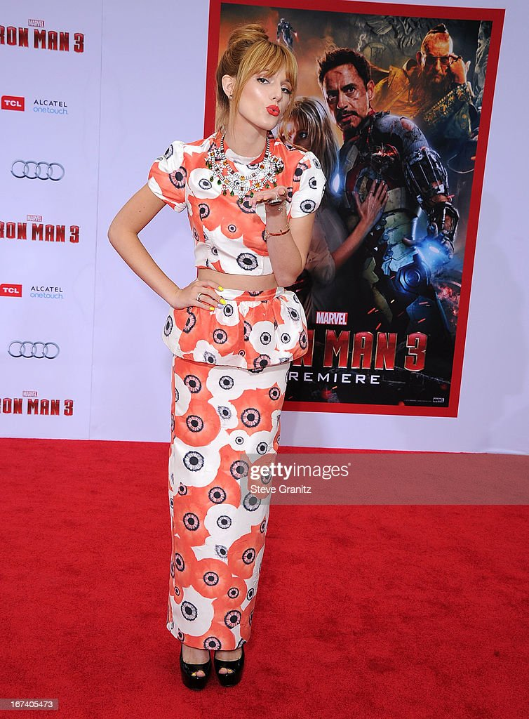 Bella Thorne arrives at the 'Iron Man 3' - Los Angeles Premiere at the El Capitan Theatre on April 24, 2013 in Hollywood, California.