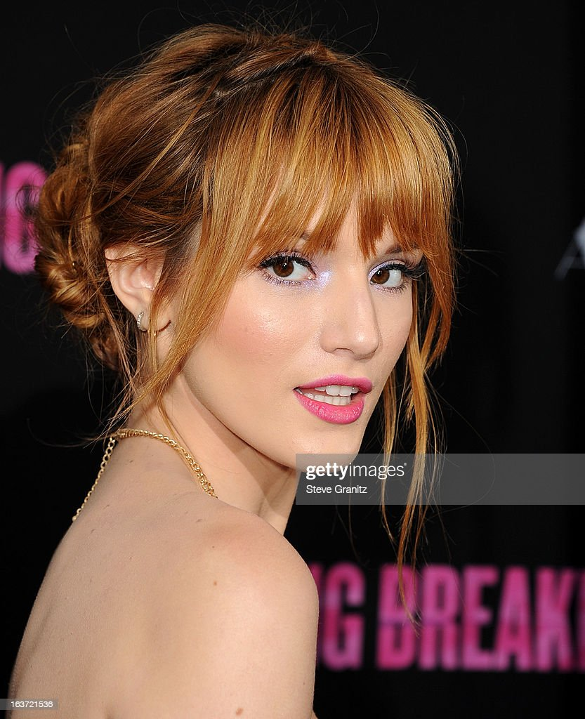 Bella Thorne arrives at the 'Spring Breakers' Los Angeles Premiere at ArcLight Hollywood on March 14, 2013 in Hollywood, California.