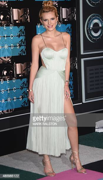 Bella Thorne arrives on the red carpet at the MTV Video Music Awards August 30 2015 at the Microsoft Theater in Los Angeles California AFP PHOTO/Mark...