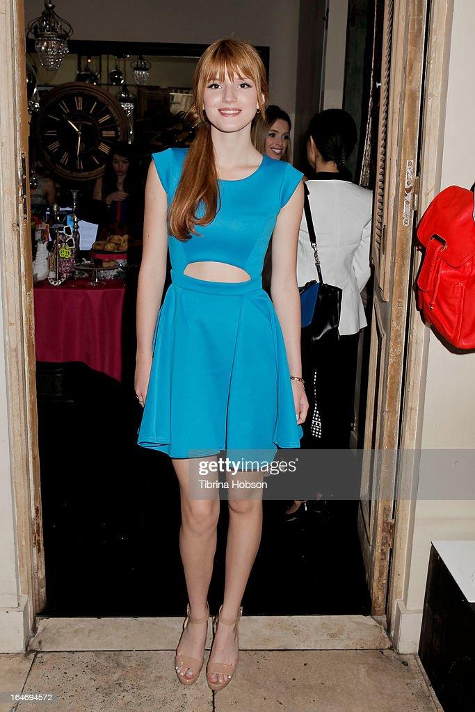 <a gi-track='captionPersonalityLinkClicked' href=/galleries/search?phrase=Bella+Thorne&family=editorial&specificpeople=5083663 ng-click='$event.stopPropagation()'>Bella Thorne</a> attends Boohoo's Summer 2013 press day at SUR Lounge on March 26, 2013 in Los Angeles, California.