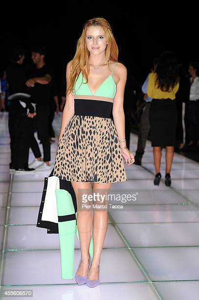 Bella Thorne attends the Fausto Puglisi show during the Milan Fashion Week Womenswear Spring/Summer 2015 on September 17 2014 in Milan Italy