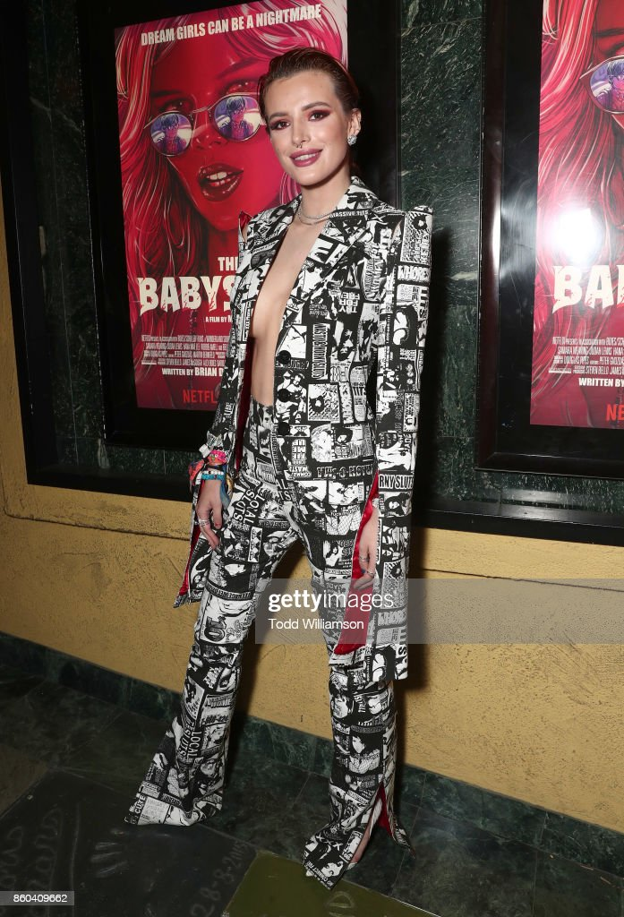 Bella Thorne attends the Los Angeles Premiere of 'The Babysitter' on October 11, 2017 in Los Angeles, California.