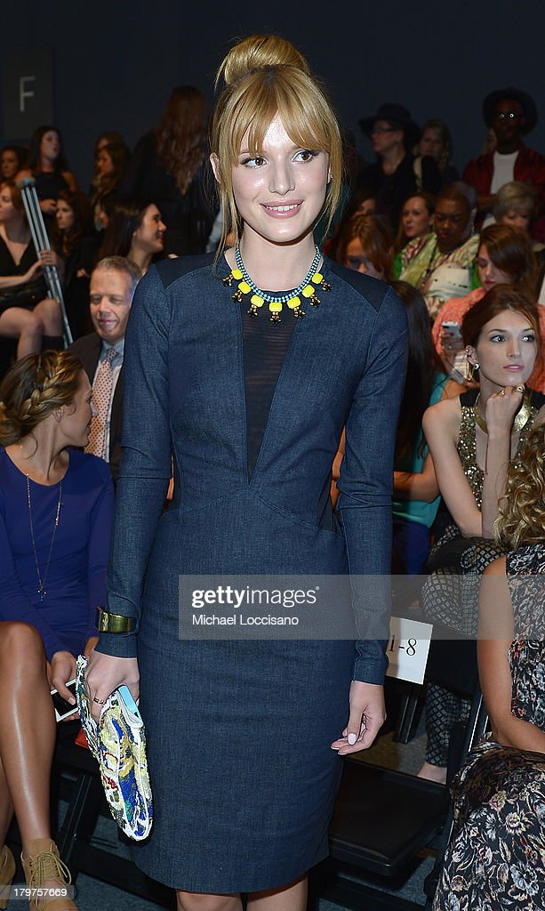 <a gi-track='captionPersonalityLinkClicked' href=/galleries/search?phrase=Bella+Thorne&family=editorial&specificpeople=5083663 ng-click='$event.stopPropagation()'>Bella Thorne</a> attends the Nicole Miller Spring 2014 fashion show during Mercedes-Benz Fashion Week at The Studio at Lincoln Center on September 6, 2013 in New York City.