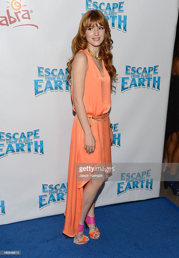 <a gi-track='captionPersonalityLinkClicked' href=/galleries/search?phrase=Bella+Thorne&family=editorial&specificpeople=5083663 ng-click='$event.stopPropagation()'>Bella Thorne</a> attends the premiere of The Weinstein Company's 'Escape From Planet Earth' at Mann Chinese 6 on February 2, 2013 in Los Angeles, California.