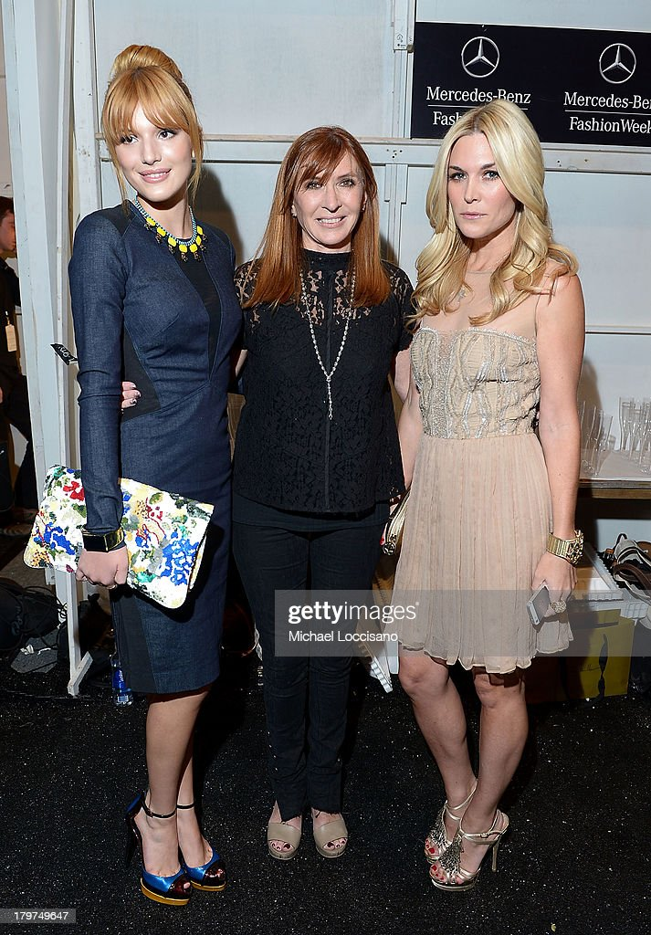 <a gi-track='captionPersonalityLinkClicked' href=/galleries/search?phrase=Bella+Thorne&family=editorial&specificpeople=5083663 ng-click='$event.stopPropagation()'>Bella Thorne</a>, designer Nicole Miller (L) and <a gi-track='captionPersonalityLinkClicked' href=/galleries/search?phrase=Tinsley+Mortimer&family=editorial&specificpeople=207123 ng-click='$event.stopPropagation()'>Tinsley Mortimer</a> pose backstage at the Nicole Miller Spring 2014 fashion show during Mercedes-Benz Fashion Week at The Studio at Lincoln Center on September 6, 2013 in New York City.