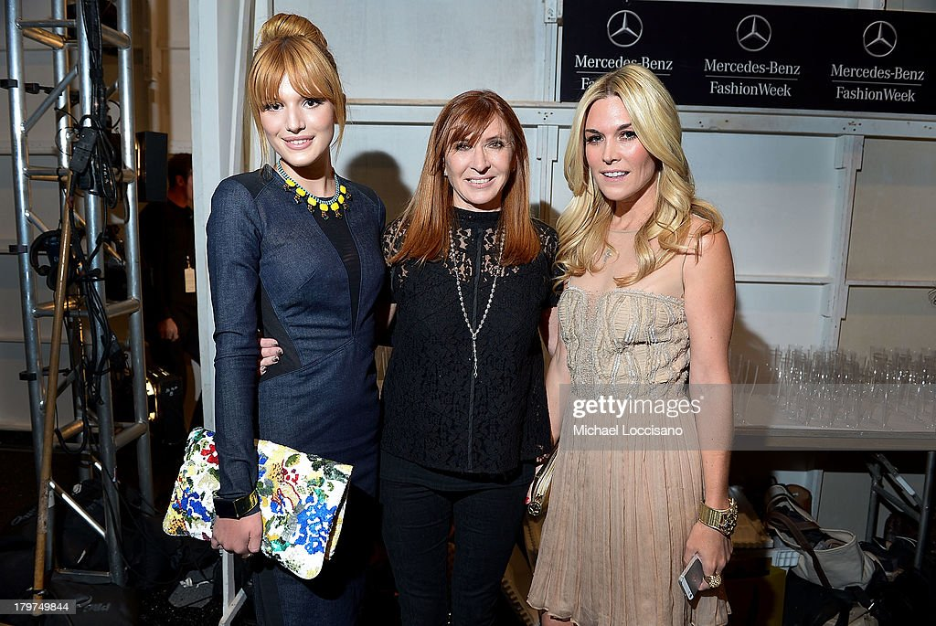 Bella Thorne, designer Nicole Miller, and Tinsley Mortimer pose backstage at the Nicole Miller Spring 2014 fashion show during Mercedes-Benz Fashion Week at The Studio at Lincoln Center on September 6, 2013 in New York City.