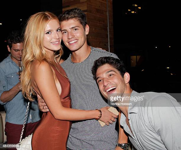 Bella Thorne Gregg Sulkin and Tyler Posey attend Cameron Monaghan's birthday dinner at The District by Hannah An on August 15 2015 in Los Angeles...