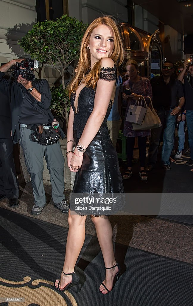 Bella Thorne is seen arriving at Marchesa fashion show during Spring 2016 New York Fashion Week at St. Regis Hotel on September 16, 2015 in New York City.
