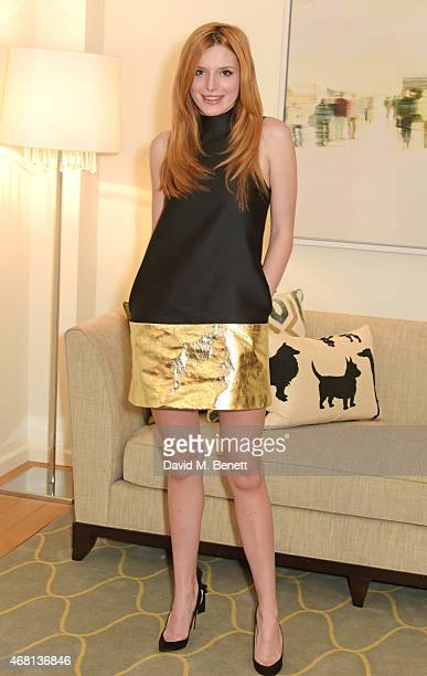 Bella Throne poses at a photocall for 'The Duff' at the Corinthia Hotel London on March 30 2015 in London England