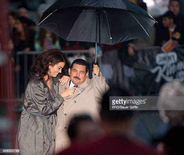 Bellamy Young and Guillermo Rodriguez are seen on 'Jimmy Kimmel Live' on November 13 2014 in Los Angeles California