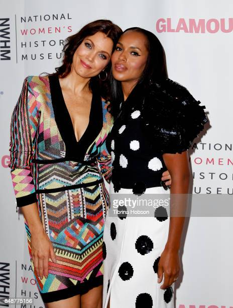 Bellamy Young and Kerry Washington attend the 6th Annual Women Making History Awards at The Beverly Hilton Hotel on September 16 2017 in Beverly...
